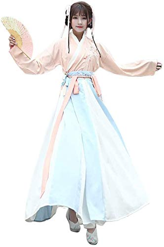 Womens Vintage Chinese Kostuum Hanfu Ancient Geborduurde Chinese Dress Cosplay Dance Kostuums 3 pakken, (Size : Large)