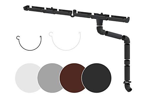 RAINWAY Juego completo de canalones de PVC (1 lado del techo) en 4 colores, recomendado para techos  100 m² (juego mínimo de 4 metros, blanco)