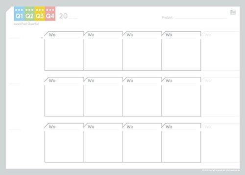 weekview 3-Monats-Pad | der perfekte Überblick über einen klassischen Zeitraum! | A4-Block, 50 Seiten, inkl. 2-Jahresübersicht und Sticker
