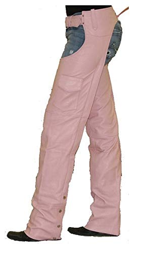 Womens Insulated Pink Leather Motorcycle Chaps XS