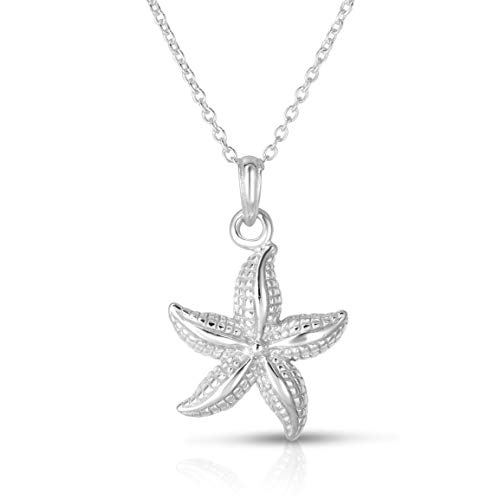 Unique Royal Jewelry A Solid Sterling Silver Starfish (Sea Star) Pendant and 18' Inch Length Necklace. (Rhodium-Plated Sterling Silver)