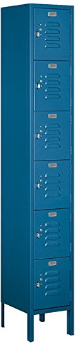 Salsbury Industries 66162BL-U Six Tier Box Style 12-Inch Wide 6-Feet High 12-Inch Deep Unassembled Standard Metal Locker, Blue