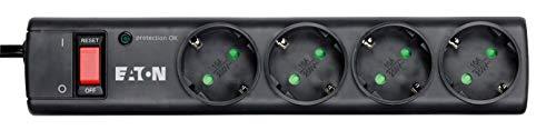 Eaton Protection Strip 4 DIN - stekkerdoos met overspanningsbeveiliging (4-voudige Schuko-stekker, schakelbaar) Versie 2020. 5 Schwatz