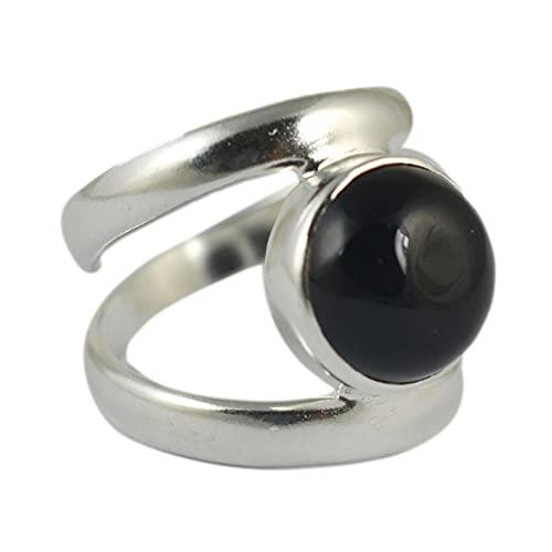Navya Craft 925 Sólido Plata de Ley Ónix Negro Hecho A Mano Anillo de Mujer Tamaños 4 a 31 ES