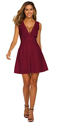 OURS Women Sleeveless V Neck Party MIDI Dress Swing Cocktail Dress(Large, Wine Red)
