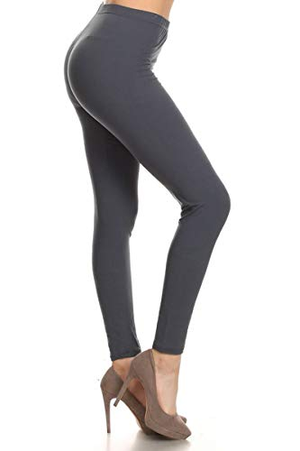 LDX128-Charcoal Basic Solid Leggings, Plus Size
