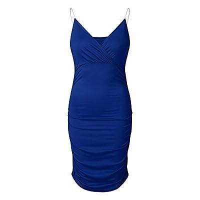 Muranba Womens Dresses Fashion Spaghetti Strap Summer Deep V-Neck Solid Ruched Irregular Dress