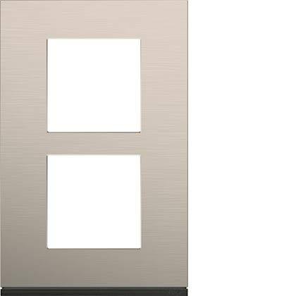 Hager WXP4522 - Placa de acabado vertical para 2 puestos de aluminio (distancia entre ejes: 57 mm, aluminio antiguo, WXP4522