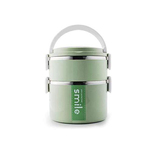 Termos portátil Almuerzo Caja de comida Contenedor de alimentos 2 3 Caja de bento Caja de almuerzo aislada de acero inoxidable para almacenamiento de alimentos Contenedor ( Color : Green 2 layers )