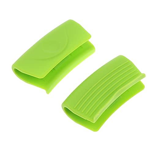 SPFCJL 2 unids de Silicona Resistente al Calor Clip de Mango Antideslizante Cubierta Anti-Scald Clips de Olla de Calor intestino microondas Horno Guantes Cocina Gadgets (Color : GN)