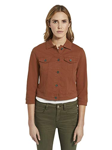 TOM TAILOR Damen Jacken Jeansjacke mit 3/4-Arm Goji Orange,S