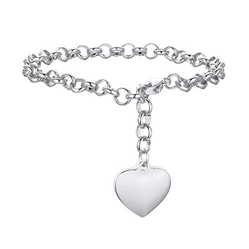 ShZyywrl Armband HerzketteArmband Rolle Link Für Frauen Edelstahl Gold FarbeLiebe Armreif Valentine Geschenke Einstellbare Silberfarbe