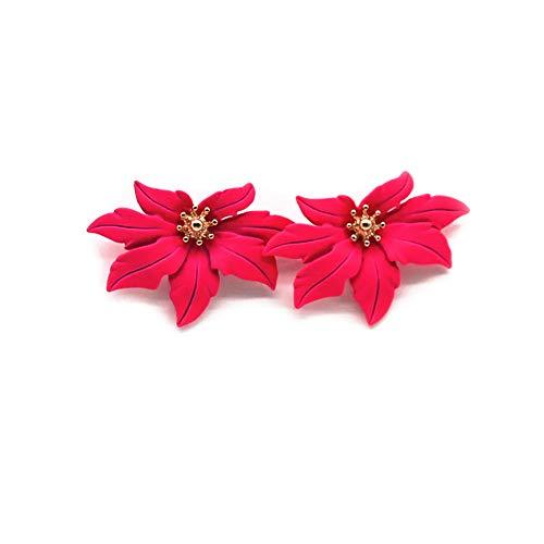 EXINOX Pendientes de Flores | Mujer | Elegantes Pendientes Flor de Arce (Fucsia)