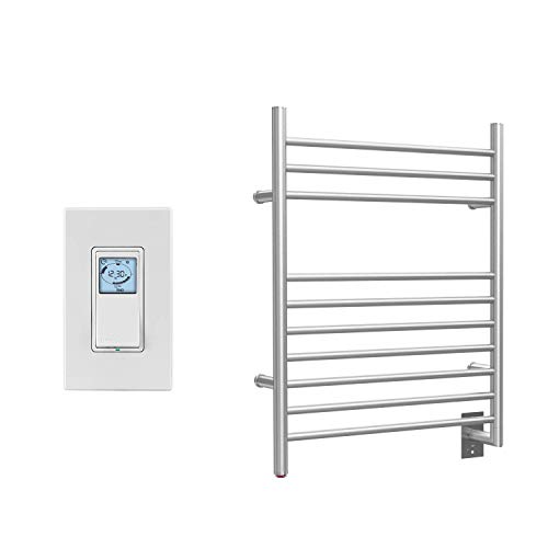WarmlyYours 10-Bar Infinity Towel Warmer with Timer, Hardwired, Brushed Stainless Steel