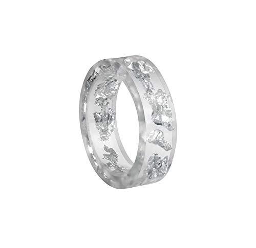crintiff - Minimalistischer schicker und transparenter Ring mit silbernem Glitter, handgefertigt - Transparent und golden