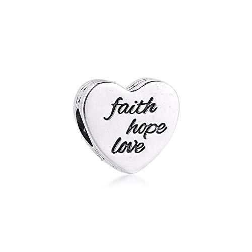 LILANG Pandora 925 Pulsera de joyería Cuentas Naturales se Adapta a Faith Hope Love Charm Cuentas de Plata esterlina auténtica para Mujer Regalo DIY