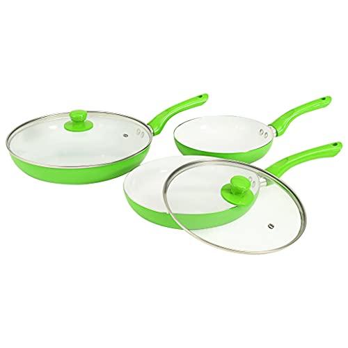 Verde e bianco Materiale: Alluminio Set di Padelle 5 pz Verdi in AlluminioCasa e Giardino Cucina e pranzo Pentolame e tegami da forno Pentole e tegami Set di pentole