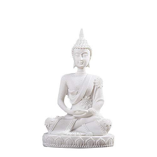 Figura de Buda de Buda en meditación de Resina para la Oficina y la decoración del hogar, Blanco, Talla Abierta