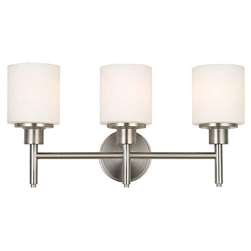 Design House 556209 Aubrey Transitional 3 Indoor Bathroom Vanity Light Dimmable Frosted Glass for Over The Mirror, Satin Nickel, 3-Light Light