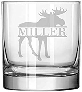 Engraved Rocks Whiskey Glass Moose Custom Personalized