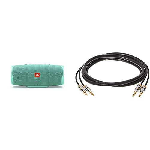 JBL Charge 4 Bluetooth-Lautsprecher in Petrol – Wasserfeste, Portable Boombox mit integrierter Powerbank & Amazon Basics - Lautsprecher-Kabel mit Gold-beschichteten Bananensteckern - 1,8 m