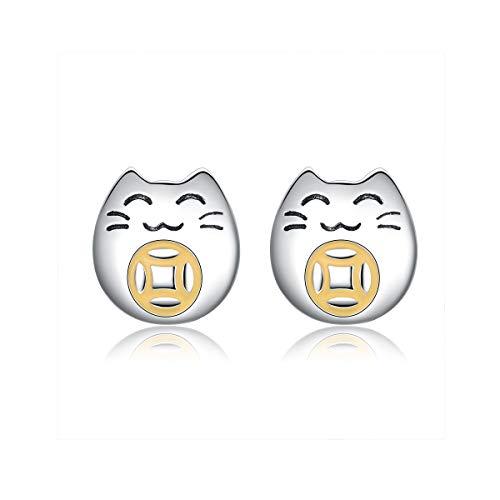 Lucky Kat Oorbellen voor Vrouwen Goud Kleur Oude Munt Kleine Oorstekers voor Meisjes Leuke Kitty Mode Sieraden SCE636