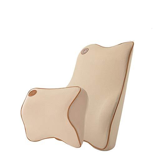 Lendenkissen fürs Auto und Kopf- und Nackenstützkissen für das Auto sowie für alle Autositzkissen Hochwertige Space Memory Cotton Beige