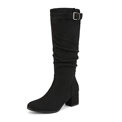 DREAM PAIRS Women's Black Slouchy Block Heel Knee High Fall Boots Size 7 M US Jennifer-2