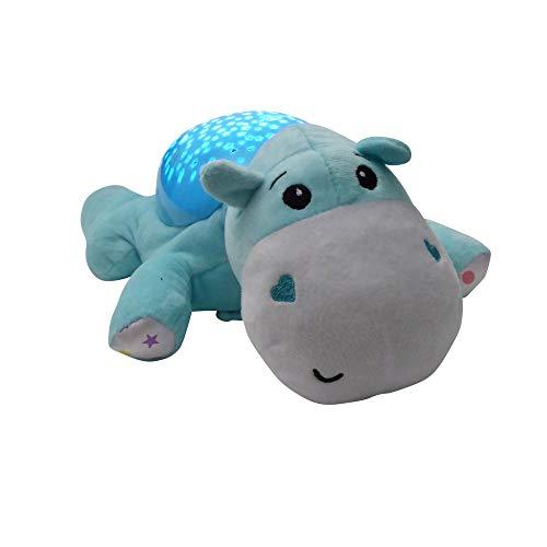 """LED Lampe\"""" Nilpferd Hippo\"""" mit Sternenhimmel Musik Einschlafhilfe Tischlampe Tischleuchte Nachttischlampe"""