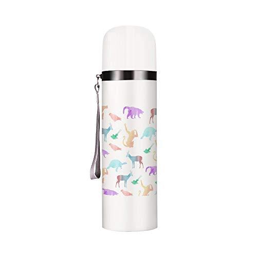 Bullet Warhead - Botella de agua con aislamiento térmico para botella de agua, diseño de silueta animal, frío caliente, simple y a prueba de fugas, botella de agua deportiva, 12 onzas
