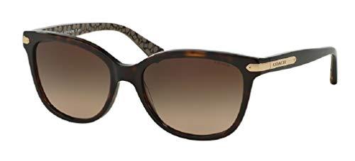 Coach HC8132 529113 57M Dark Tortoise/Military/Dark Brown Gradient Cat Eye Sunglasses For Women+FREE Complimentary Eyewear Care Kit