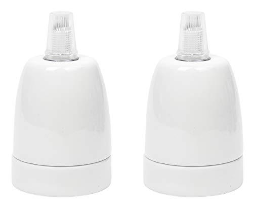 Portalampada in Porcellana (ceramica di alta qualità) per lampadine LED/con Filo E27, Colore: Bianco, Fino a 100 W, incl. Pressacavo, ad esempio per luci a sospensione, moderno