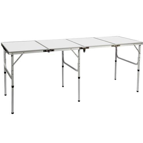 [クイックキャンプ] アウトドア 折りたたみテーブル ロング 180×60cm ホワイト QC-4FT180 四つ折り 軽量 折り畳みテーブル イベント
