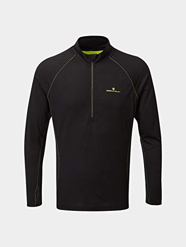 Ronhill Tech Merino - Camiseta de manga corta para hombre con cremallera 1/2, Hombre, Camiseta con cremallera, RH-005121, Negro/Amarillo Fluo, M