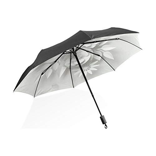 Vívido Flor Papel Ilustración Negro Portátil Ligero Compacto Paraguas Plegable Protección Anti UV Impermeable Soleado A Prueba Viento Costilla a Prueba Lluvia Viaje Aire Libre Mujeres Hombres Niño