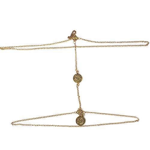 Cinturón Mujer Playa Cadena Muslo Vintage Modernas Bikini De Casual Vajilla Conjunto De Joyería Elegante Moda Cinturón Bonito Cinturón Cinturón (Color : Oro, Size : 45cm)