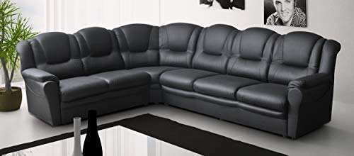Sofas and More BIG CORNER SOFA TEXAS BLACK SUITE FAUX LEATHER LIVING ROOM SETTEE