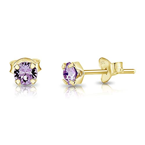 DTPSilver - 925 Sterling Silver Yellow Gold plated Round TINY Stud Earrings made with Glittering Crystals from Swarovski Elements - Diameter: 4 mm - Colour : Violet