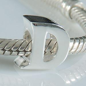 Abalorio de plata de ley 925 maciza con inicial de la A a la Z, adecuado para pulseras europeas Pandora