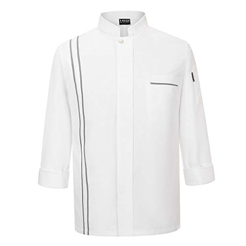 Baoblaze Kochjacke, Bäckerjacke Langarm Knopfverschluss, Weiß Herren Damen Kochjacke Küche Hotel Kochkleidung Uniform Berufsbekleidung - Weiß, XL