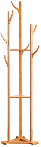 YLCJ Kapstok, 7 haken, driehoekig, van hout, kledingrek, 3 vakken, opbergvakken, sjaal, hoeden, organizer