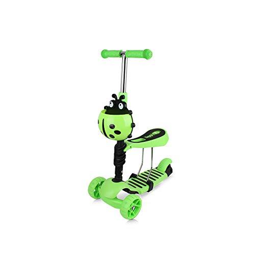 Chipolino Kinderroller, Rutscher Kiddy 2 in 1 Höhe einstellbar 3 Räder mit Licht, Farbe:dunkelgrün