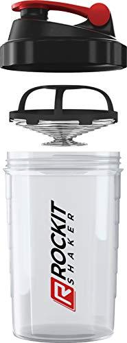 Rockitz Premium Protein Shaker 500ml - erstklassige Mischfunktion mit Infusion Sieb - für super cremige Fitness Eiweiß Shakes, Proteinshake Becher,Transparent | Rot