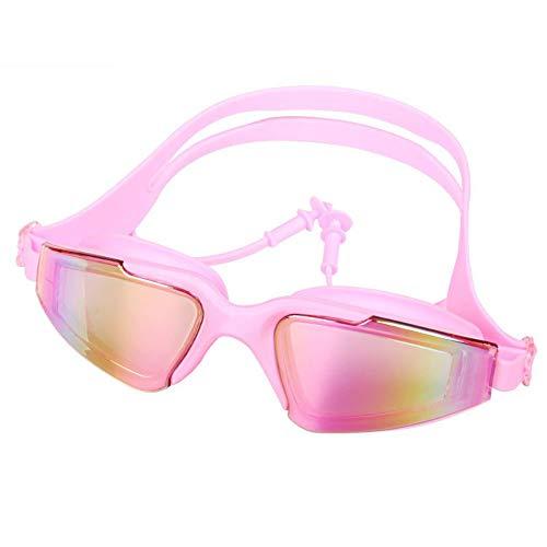 MHP HD Myopieschutzbrille wasserdichte Anti-Fog-Schwimmbrille großer Rahmen plattiert verbundene Ohrstöpsel Schwimmbrille, pink, -3,5