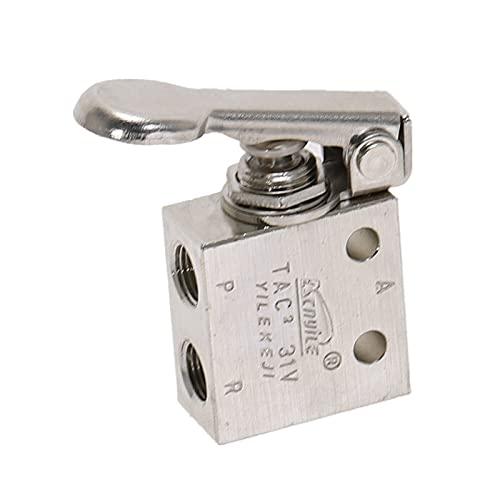 """YEZIB Válvula Válvula mecánica 1/8""""Hilo 2 Posición 3 vías Puela de Retorno de Resorte Air Válvula de Interruptor de Interruptor de Aire W FISTINGS para Aire, Gas y Agua, etc. (Color : No Fittings)"""