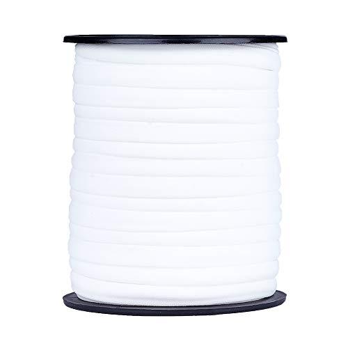 PandaHall Cordón elástico plano de 20 metros 5 mm blanco suave Nylon elástico cordón cosido cordón elástico de lycra para coser manualidades diadema accesorios de joyería
