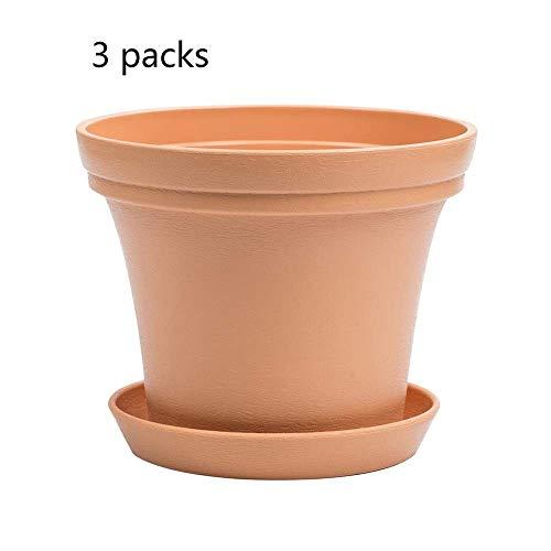 Kituir Imitation Terracotta Runde Kunststoff Blumentopf Einrichtungsgegenstände mit Schalen von saftigen Töpfen Durable Breathable Plant Seeder Indoor-und Outdoor-Pflanzgefäß Töpfe (Color : 3 Packs)