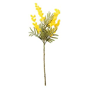 DAOHE 38cm Fake Acacia Artificial Flowers Yellow Mimosa Spray Cherry Fruit Branch Wedding Home Table Decoration Flower(Yellow)
