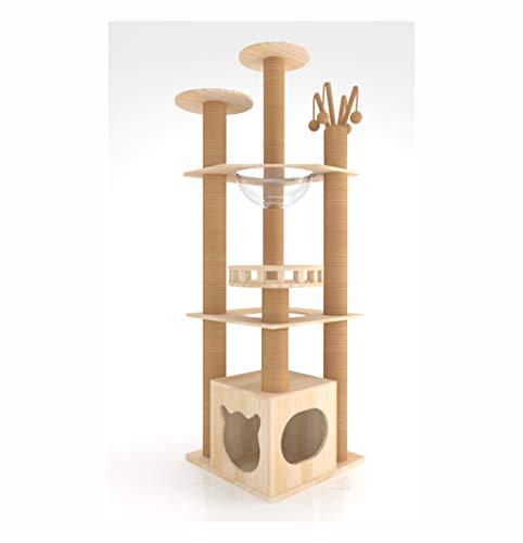 GBY Großer Kratzbaum Katzenbaum Klettergerüst Massivholz Katzennest Katzenspringen Plattform Katzengriff Katzengriff für den Innenbereich geeignet 156 * 46 * 46 cm