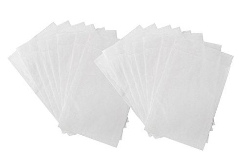 100 kleine Papiertüte WEISS Mini-Tüte Papier-Flachbeutel PERGAMIN 10,5 x 15 + 2 cm leicht durchsichtig für Gastgeschenke Mitgebsel give-aways Freundentränen Verpackung
